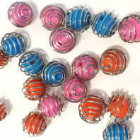 50 Mixed Acrylic Beads with 13x12mm Bead cages